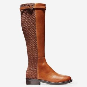 ColeHaan Leather Weave Lexi Grand Stretch Mid Calf